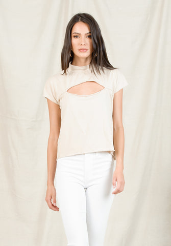 GEORGIA SLIT CHEST TOP | VANILLA