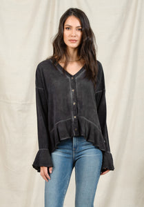 TALIA PEPLUM BUTTON UP | OIL WASH BLACK