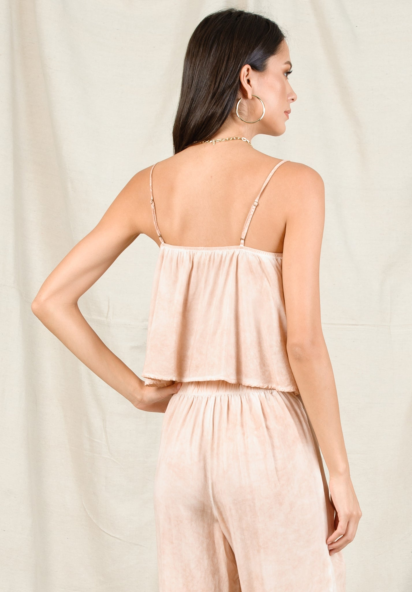 CORA CROPPED CAMI | OIL WASH GRAPEFRUIT