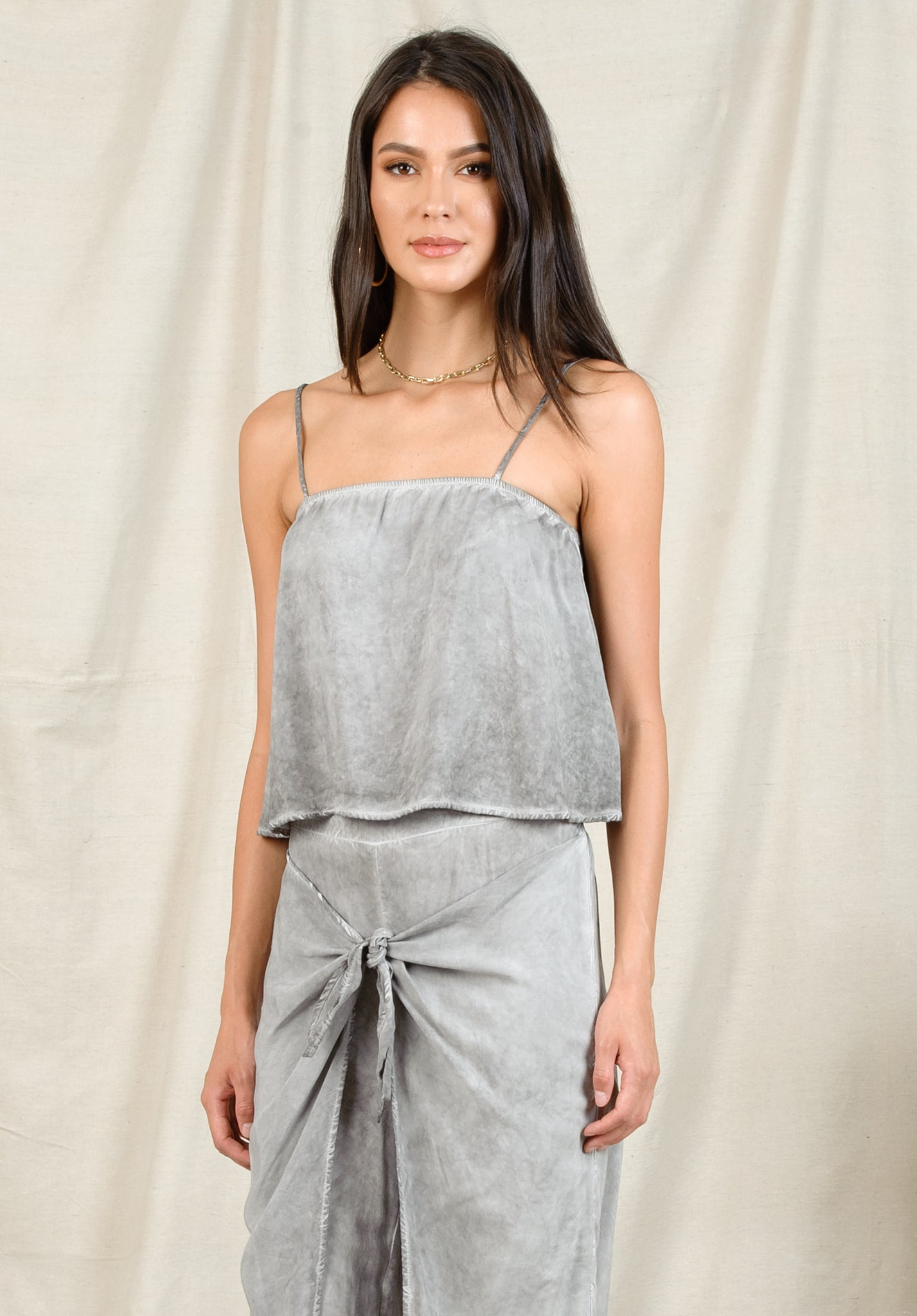 CORA CROPPED CAMI | OIL WASH STONE