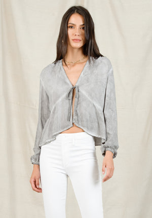 ARIANNA TIE FRONT BLOUSE | OIL WASH STONE