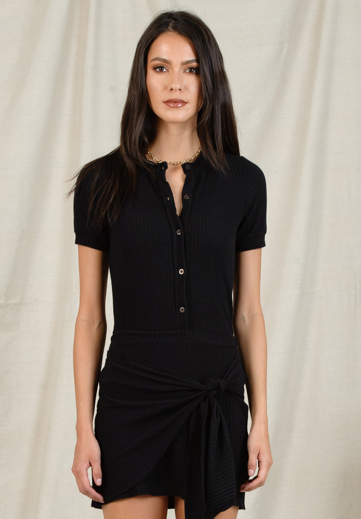 RYAN BUTTON UP TOP | BLACK