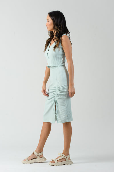 QUEEN RUCHED SLIT MIDI SKIRT | BABY GREEN