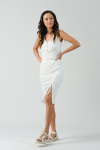 QUEEN RUCHED SLIT MIDI SKIRT | OFF WHITE