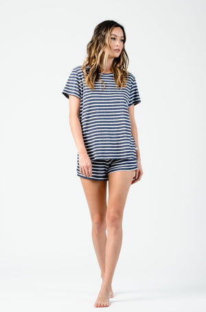 THE BOY TEE SHORT SLEEVE CREW NECK LOOSE FIT TEE  | NAVY STRIPE