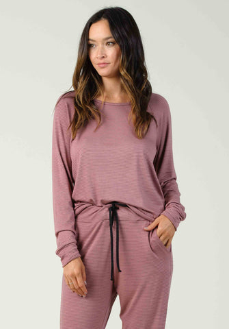 VILNIUS LONG SLEEVE PULLOVER | MAUVE/BLACK STRIPE