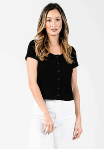 BUTTON DOWN TOP | BLACK