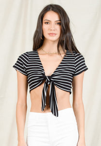 NIA TIE FRONT CROP TOP | BLACK/WHITE STRIPE