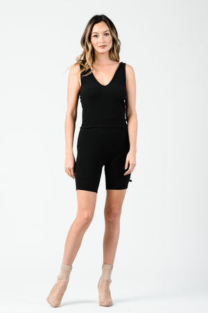 JULIE HIGH WAISTED RIBBED BIKER SHORTS | BLACK