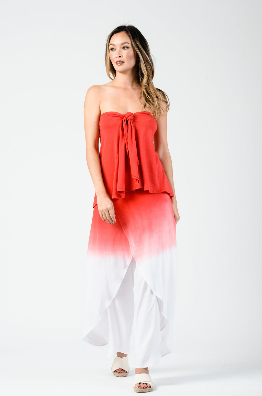 KATE STRAPLESS FRONT TIE TOP | TOMATO