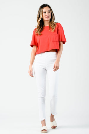POLLY ONE POCKET CROP TEE | TOMATO