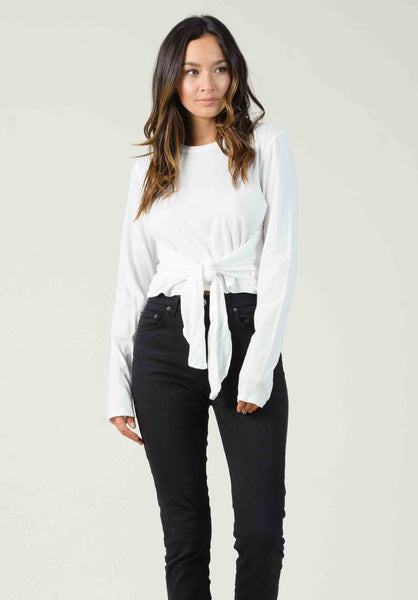 PORTO LONG SLEEVE WITH TIE WAIST | WHITE