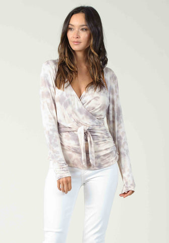 VIENNA FAUX WRAP | CREAM/PURPLE TIE DYE
