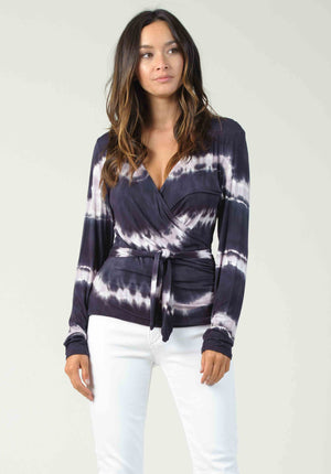 VIENNA FAUX WRAP | NAVY/PURPLE TIE DYE