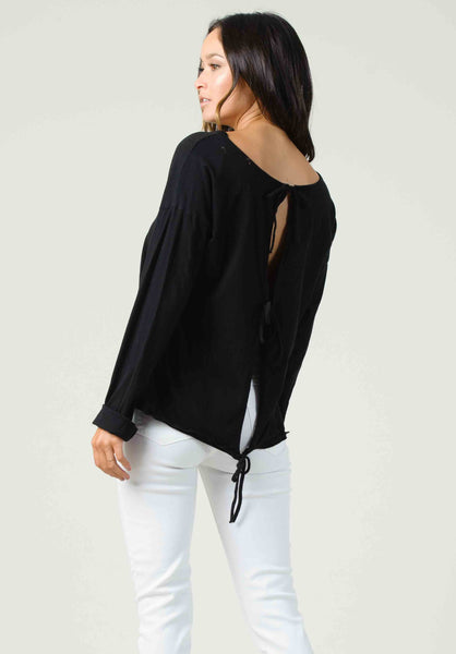 RIGA OPEN BACK LONG SLEEVE | BLACK