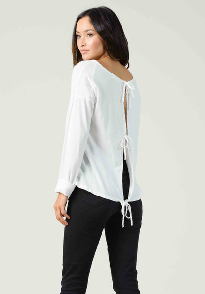 RIGA OPEN BACK LONG SLEEVE | WHITE