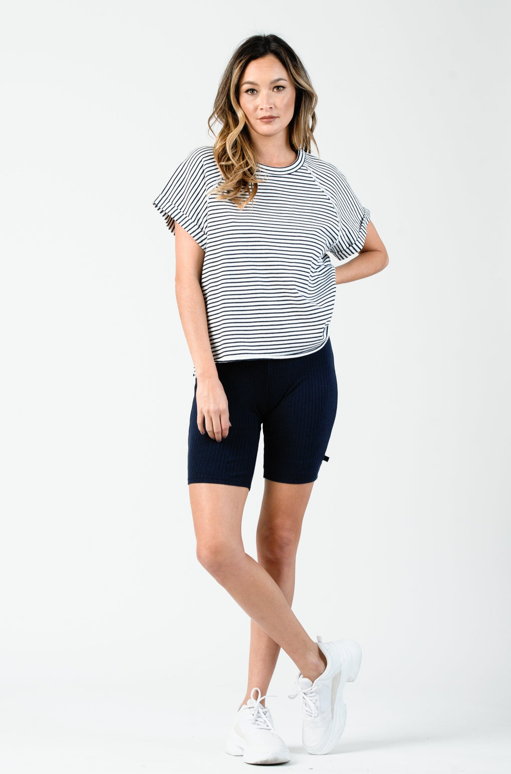 RIO RAGLAN SHORT SLEEVE TOP | WHITE NAVY STRIPE