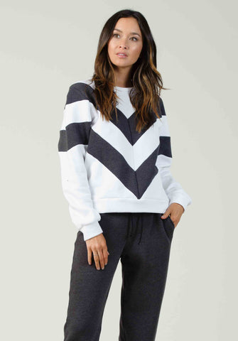 ZAGREB CHEVRON SWEATSHIRT | WHITE/DARK GREY