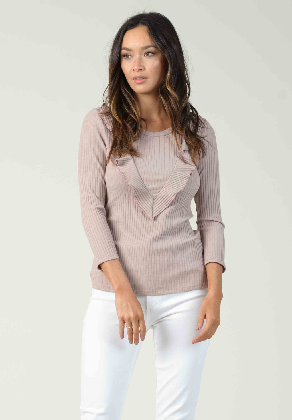 BERLIN RIBBED TOP WITH RUFFLE | BLUSH
