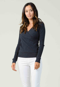 AMSTERDAM RIBBED SURPLICE TOP | CHARCOAL