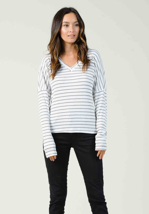 OXFORD V-NECK LONG SLEEVE | BLACK/WHITE STRIPE