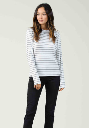 PISA CREW NECK LONG SLEEVE | BLACK/WHITE STRIPE