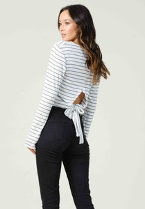 CANNES V-NECK LONGSLV W/BOW BACK | BLACK/WHITE STRIPE