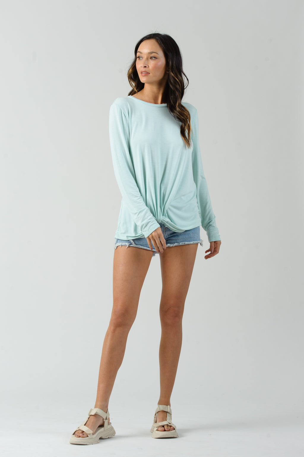 DIXIE LONG SLEEVE TWIST FRONT BLOUSE | BABY GREEN
