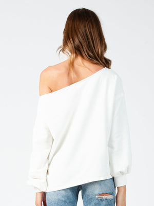 DANIE DROP SHOULDER SWEATSHIRT| WHITE