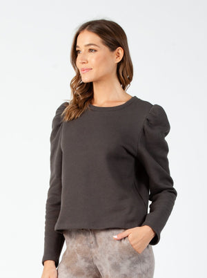 Copy of KATE PUFF SLEEVE SWEATSHIRT| CHARCOAL