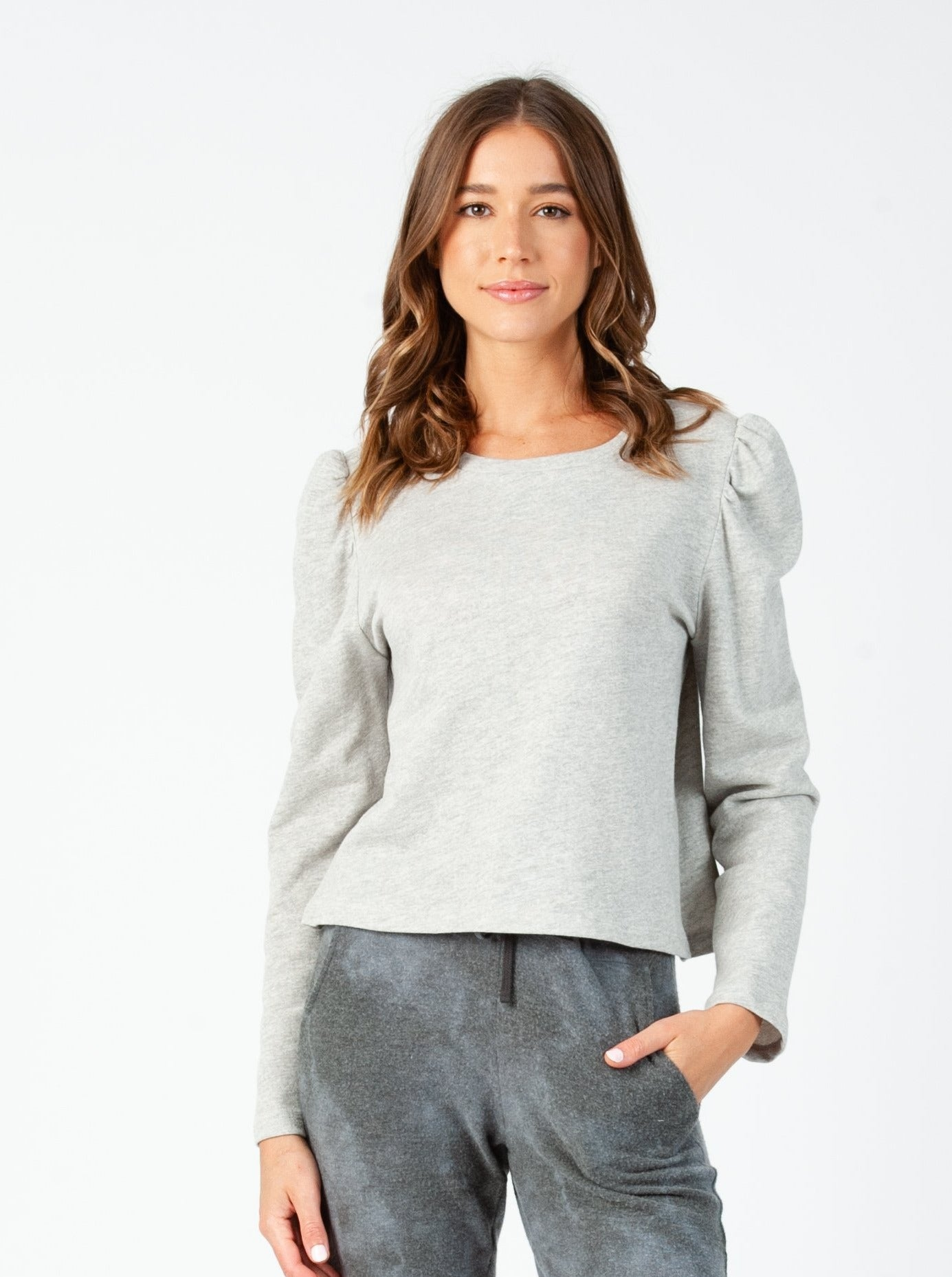 KATE PUFF SLEEVE SWEATSHIRT| HEATHER GRAY