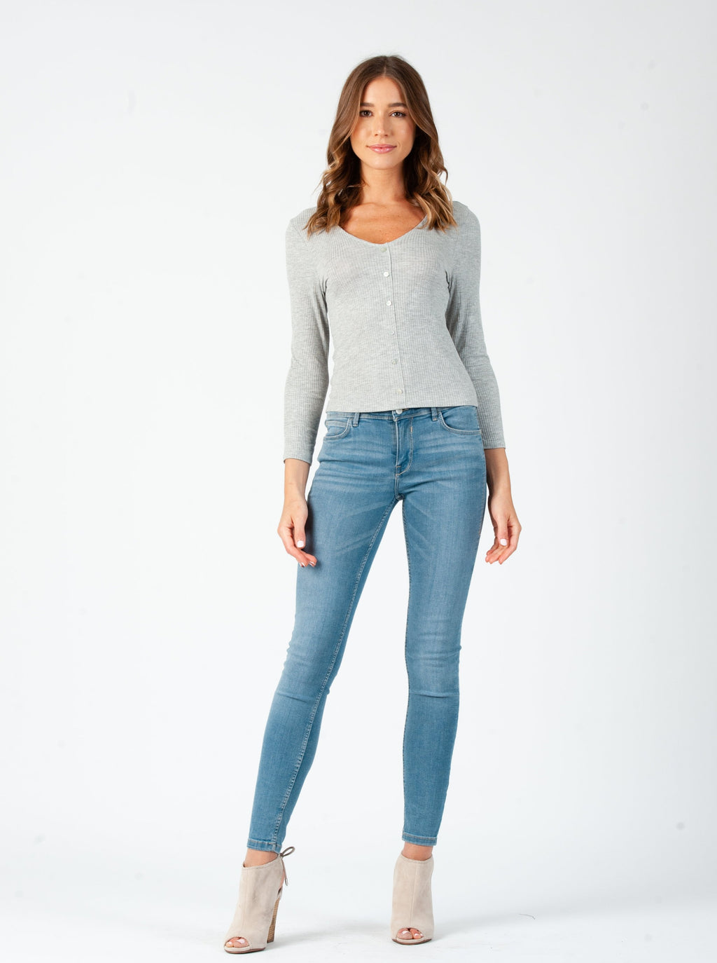 MARIE V-NECK BUTTON FRONT LONG SLEEVE | HEATHER GREY