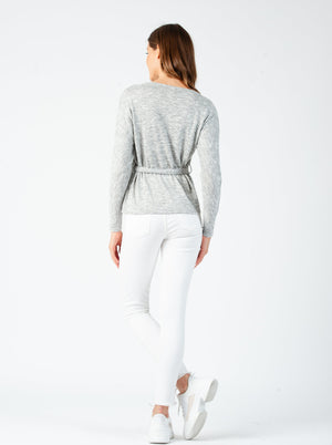 HEIZE WAIST TIE TOP | HEATHER GREY