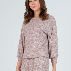 addy space dye brushed hacci long sleeve top grey burgundy