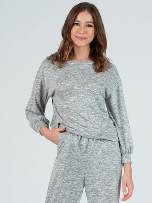 addy space dye brushed hacci long sleeve top grey