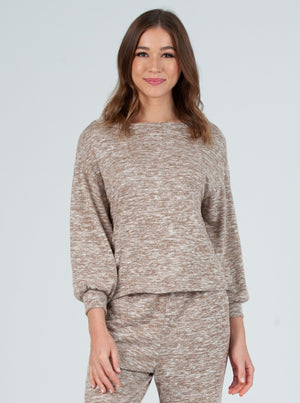 addy space dye brushed hacci long sleeve top grey taupe