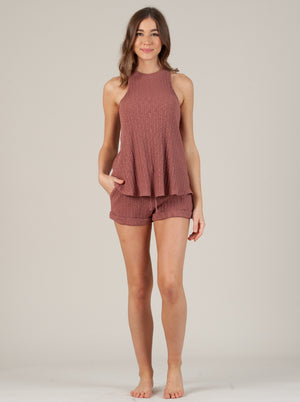 CAMILLA RACER SLEEVELESS TOP IN CHAI