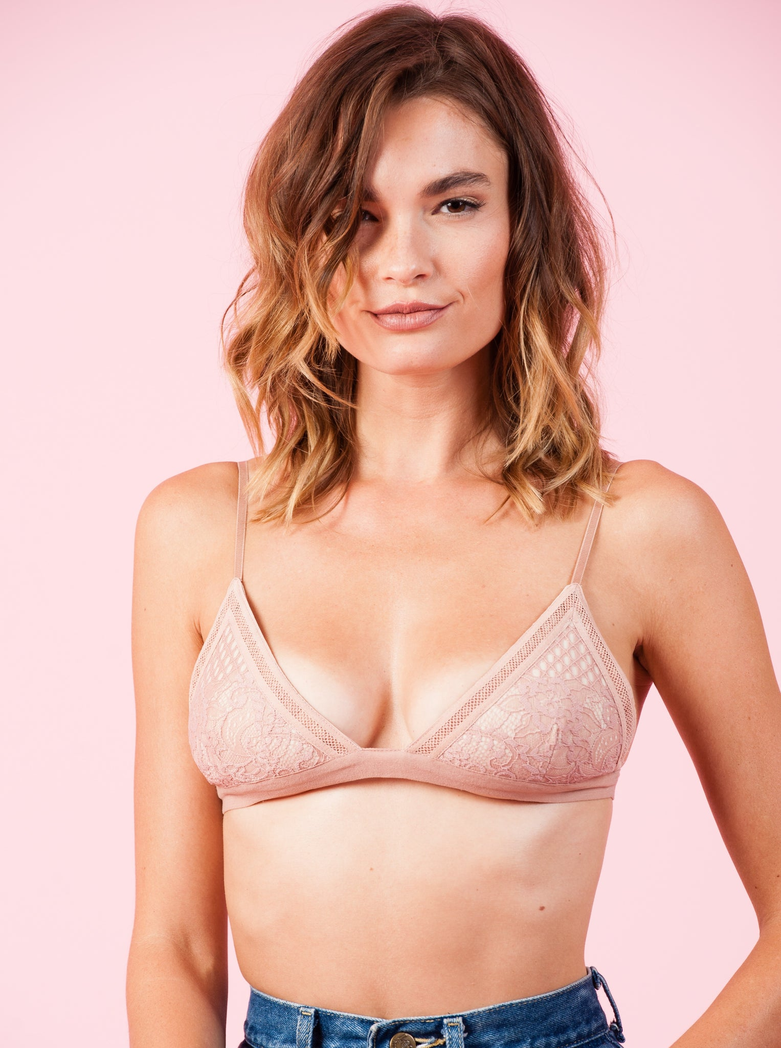 triangle bralette with mesh detail