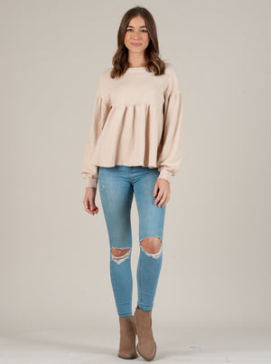 SHANNA PEPLUM FRENCH TERRY TOP OYSTER