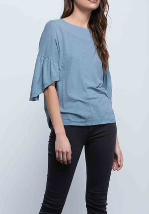 FINLEY RUFFLE SLEEVE TOP | DUSTY BLUE