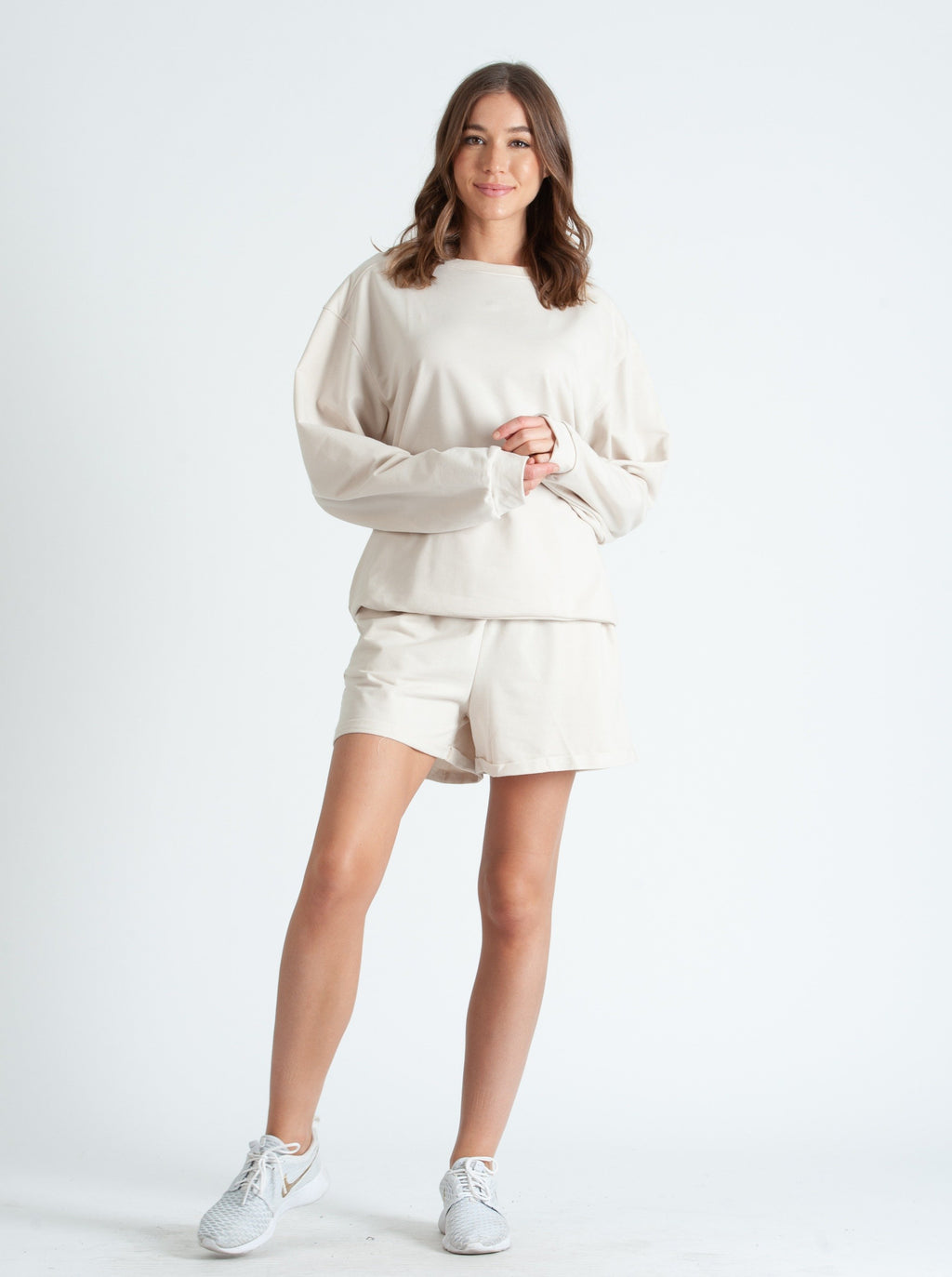 BEVERLY HILLS LONG SLEEVE & SHORTS LOUNGE SET IN OYSTER