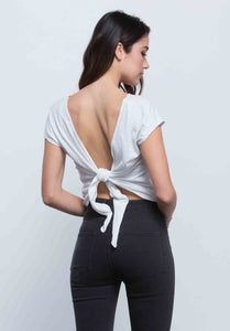 ARYA TIE BACK CROP TOP | WHITE