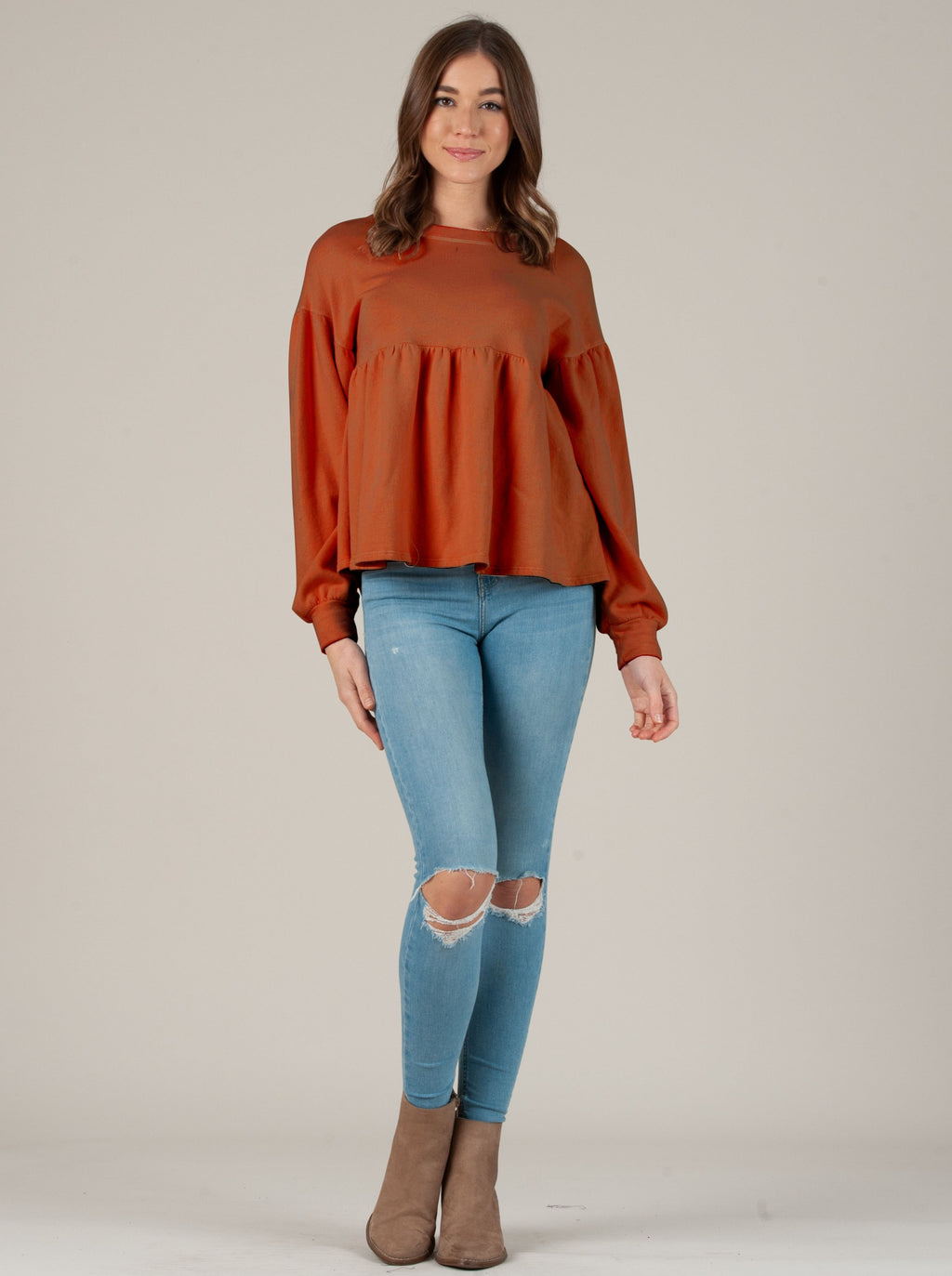 SHANNA PEPLUM FRENCH TERRY TOP SIENNA