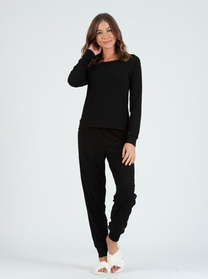 brownie black pointelle jogger pant