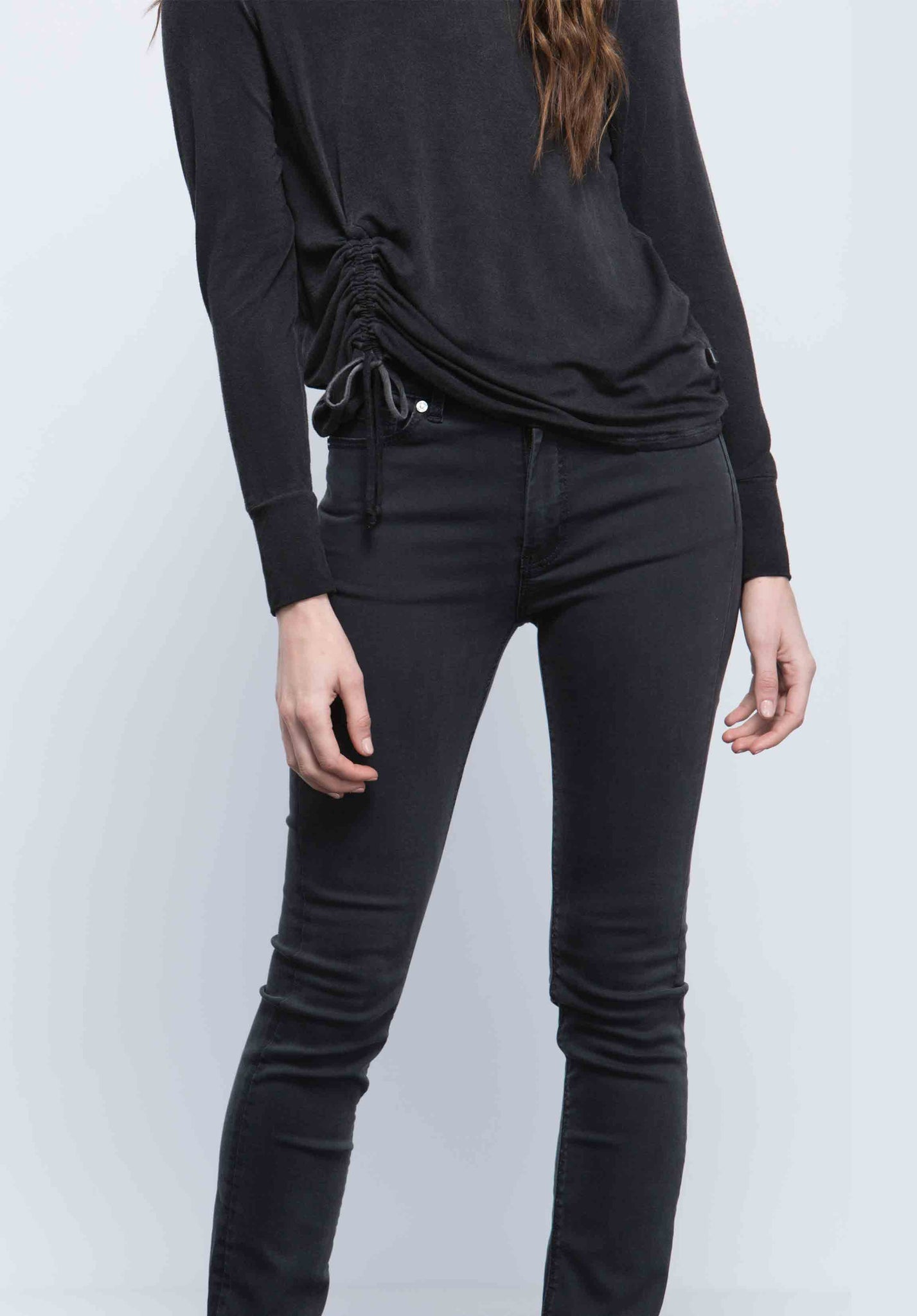 SAWYER RUCHED TIE TOP |  OIL WASH BLACK