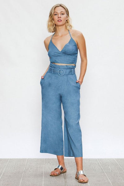 Denim crop high waist set