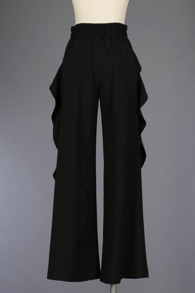 Black Ruffle Print Pants