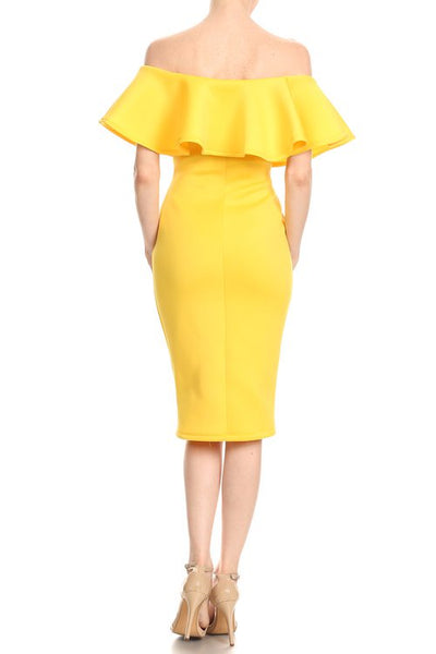 Yellow Ruffle Print Bodycon Dress