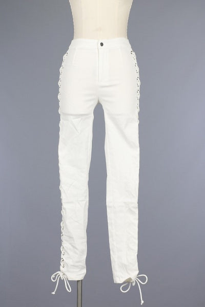 White Lace Up Pants