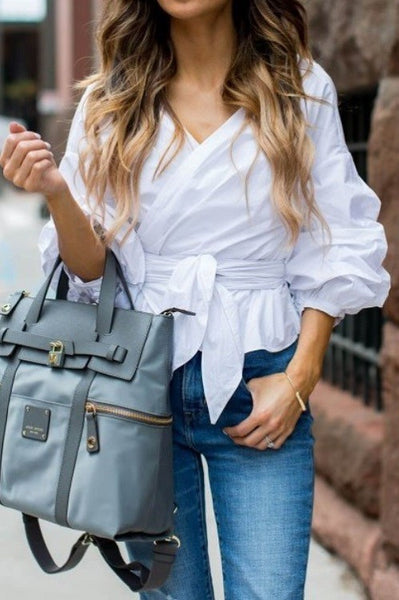Ruched Sleeve Wrap Blouse